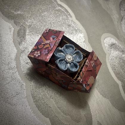 Recycled Kimono Kanzashi Ring