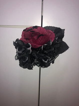 Gothic Floral Headpiece Black/Red