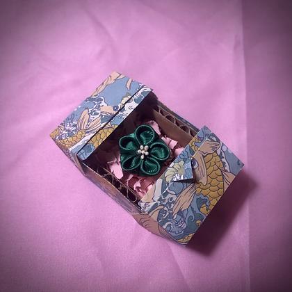 Green Flower Kanzashi Ring