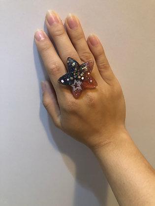 Black/Red Large Star Ring