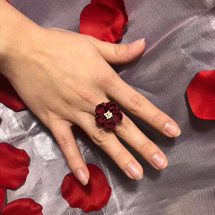 Maroon Flower Kanzashi Ring