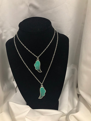 Double Chain Wing Necklace