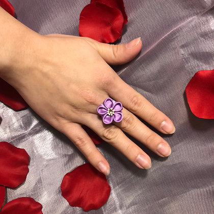 Lavender Flower Kanzashi Ring