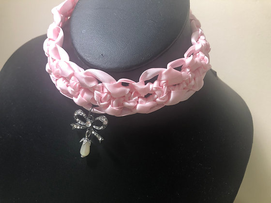 Corded Ribbon Choker (Pink)