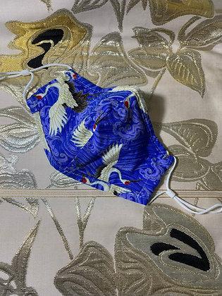 Japanese Cotton Mask Blue Cranes