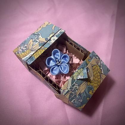 Light Blue Flower Kanzashi Ring