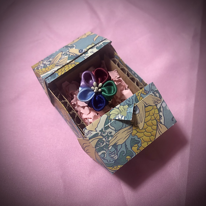 Rainbow Flower Kanzashi Ring