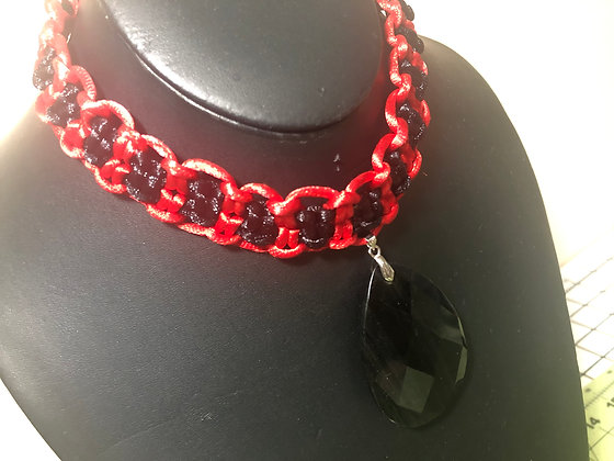 Corded Rattail Choker (Red/Black)