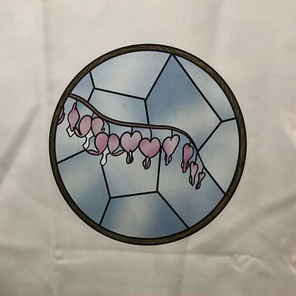 Stained Glass Sticker Bleeding Heart