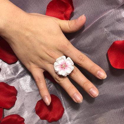 White Sakura Kanzashi Ring