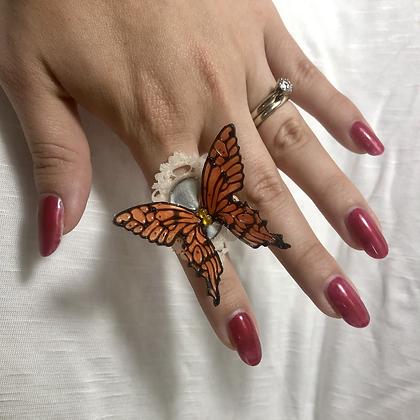 Framed Butterfly Ring (Orange)