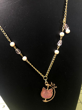 Pink Cat Spinning Necklace