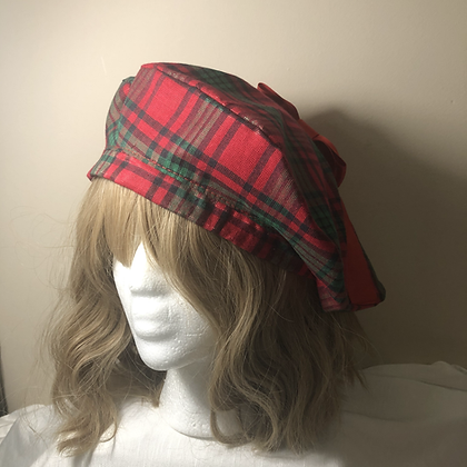 Red Plaid Holiday Beret