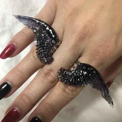 Black Angel Wing Ring Set