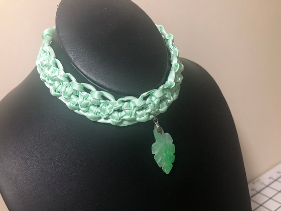 Corded Ribbon Choker (Green)