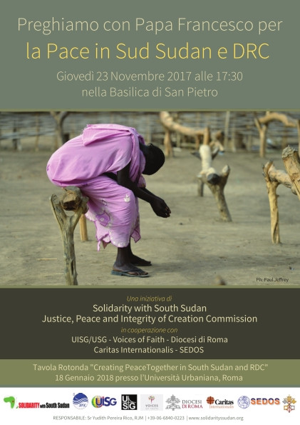 You are invited to a prayer for Peace in South Sudan and DR Congo which will take place on Thursday November 23 in St. Peters' Basilica from 17:30 to 18:30. We ask you to disseminate this information and encourage participation in this important event. No tickets are necessary.