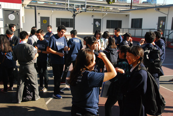 Soka & ADOMHS students mingling