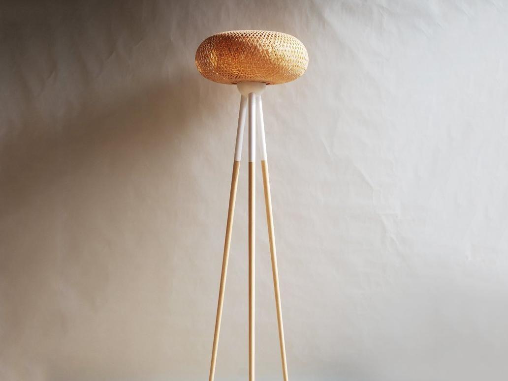 竹編落地燈