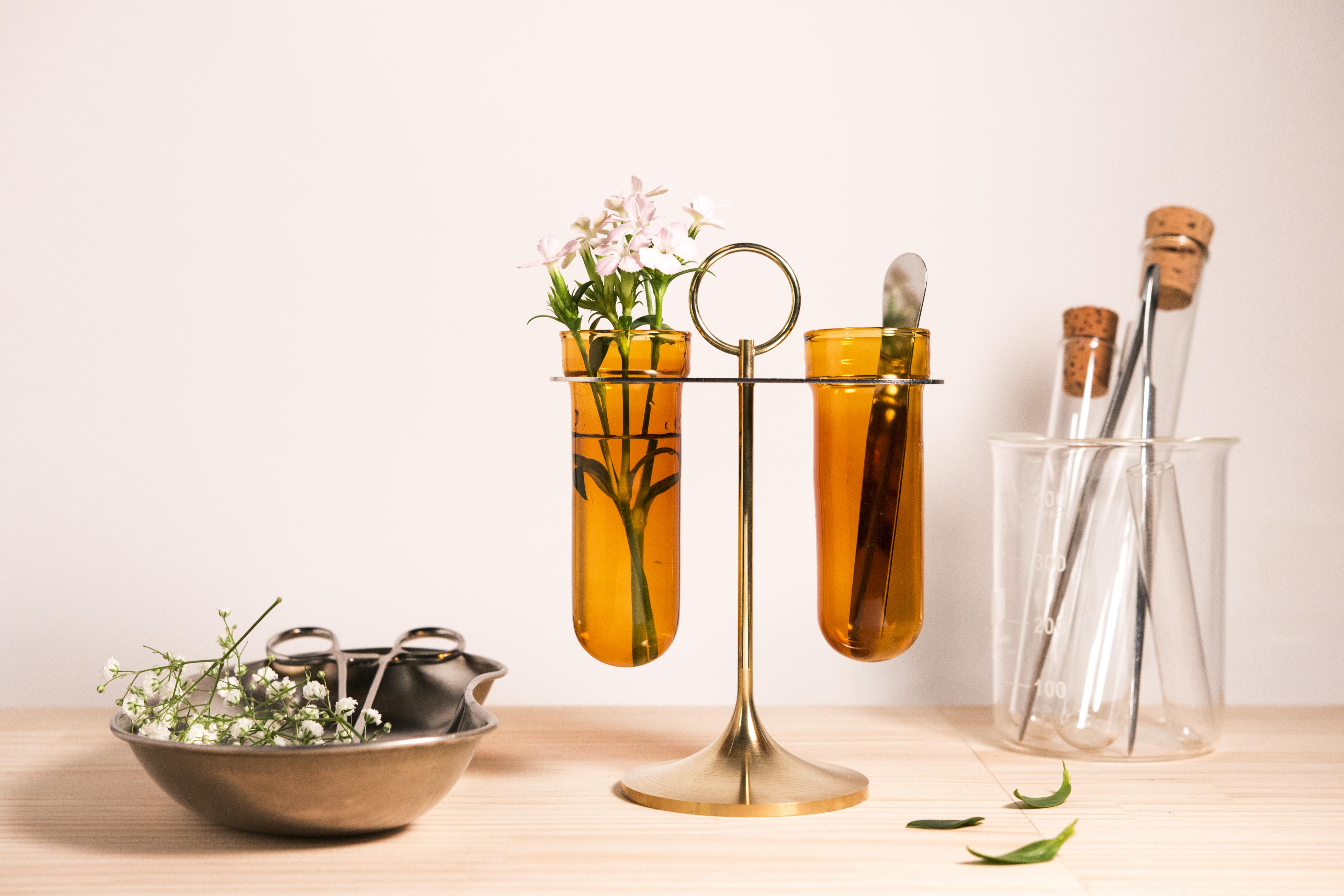 黃銅兩管花器