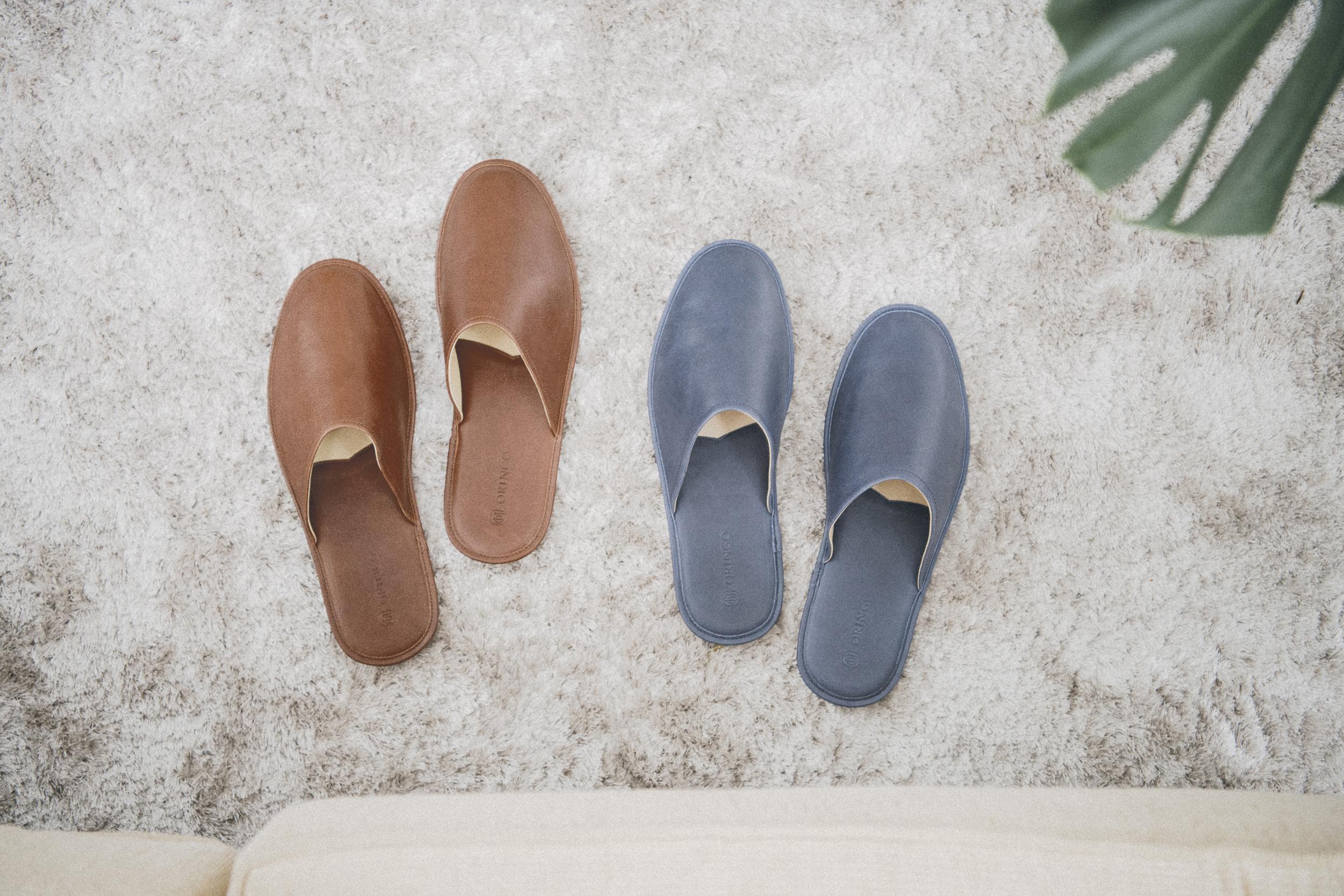 蠟感牛皮室內拖鞋 / ORINGO leather slippers