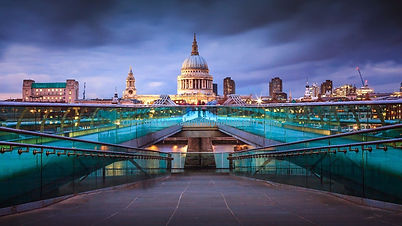 St Pauls Cathedral from Millennium Bridge, London.