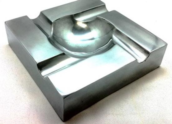 """Cigar Ashtray - Designer 8"""" Square- Polished Aluminum"""