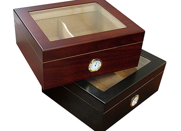 25-50 Ct. Black or  Cherry Glass Top w/ Humidifier & External Hygro