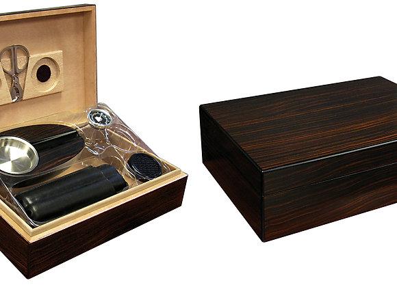 Davenport 50 Ct. Ebony Humidor Gift Set w/ Matching Accessories