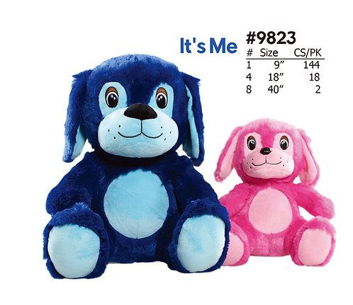 It's Me Blue & Pink Cartoon Sitting Dogs | Calplush Crane & Carnival