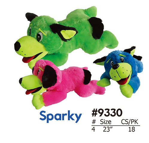 Sparky Laying Blue, Pink, and Green Stuffed Toys