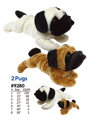 Two Pugs Laying Style Plush Dogs