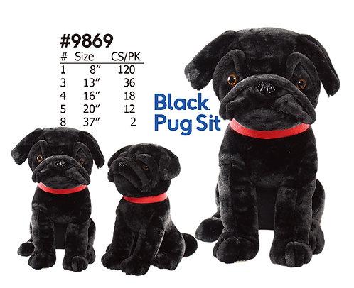 Puggy the Sitting Style Plush Pug Wholesale Black | Calplush Crane & Carnival