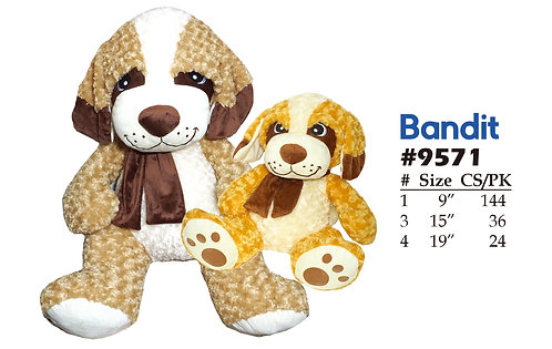 Bandit Sitting Dog 2 Colors Assorted | Calplush Crane & Carnival
