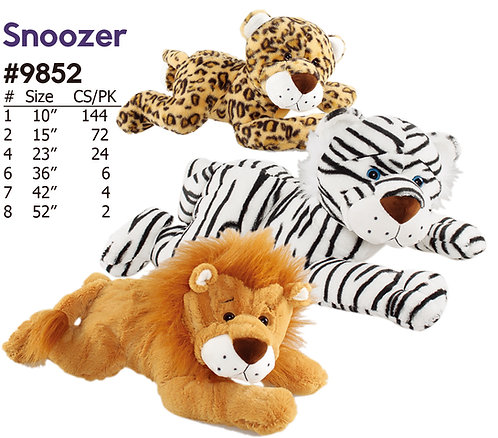 Snoozer Leopard, Lion, & White Tiger Stuffed Animals | Calplush