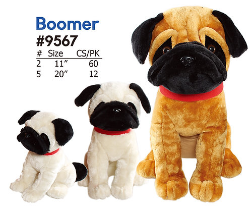 Boomer White/Brown Pug 2 Color Assorted Wholesale Plush Dogs | Calplush Carnival