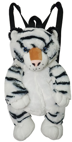 "16"" Super Soft and Fun White Tiger Backpack"