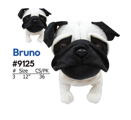 Bruno Black & White Pug with Short Feel | Calplush
