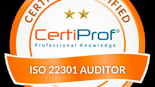 Examen de certificación ISO 22301 Auditor Avalado por CertiProf