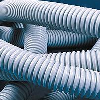 Труба ПВХ гибкая гофрированная д.16мм легкая с протяжкой 50м серая (9191650)