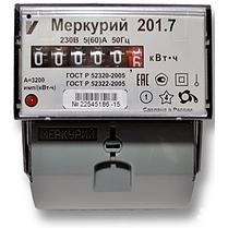 Электроматериалы - Счетчик электроэнергии однофазный однотарифный Меркурий 201.7 60/5 Т1 D 230В ОУ (201.7)