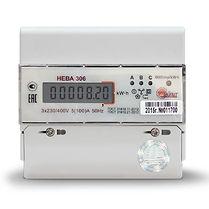 Счетчик электроэнергии трехфазный однотарифный Нева306 100/5 Т1 D 230/400В ЖК
