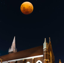 Super Blue Blood moon over St Mary's church