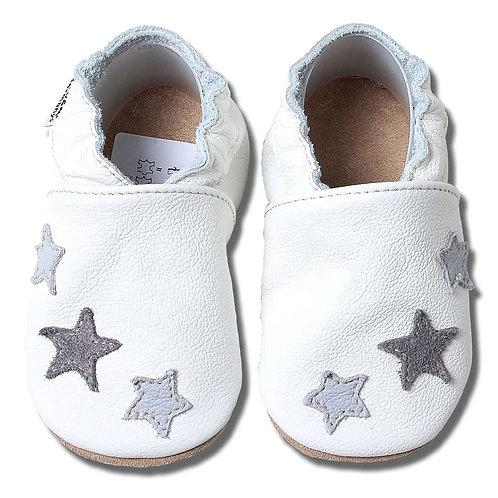 HOBEA Germany Krabbelschuhe weiß graue Sterne