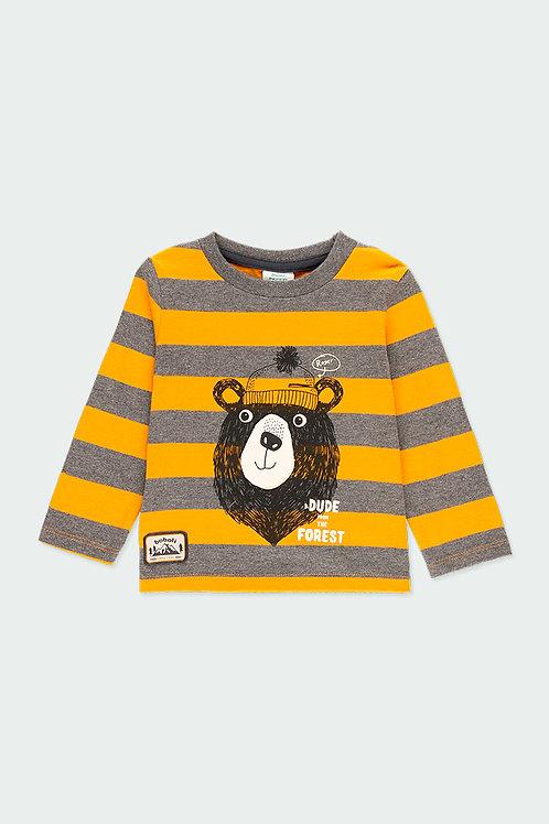 Boboli Shirt Bär gelb grau gestreift