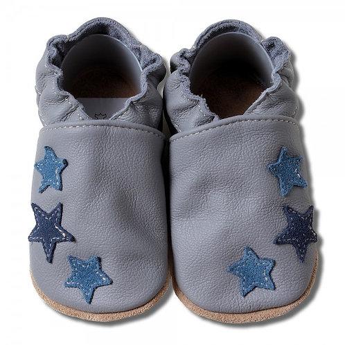 HOBEA Germany Krabbelschuhe grau blau Sterne