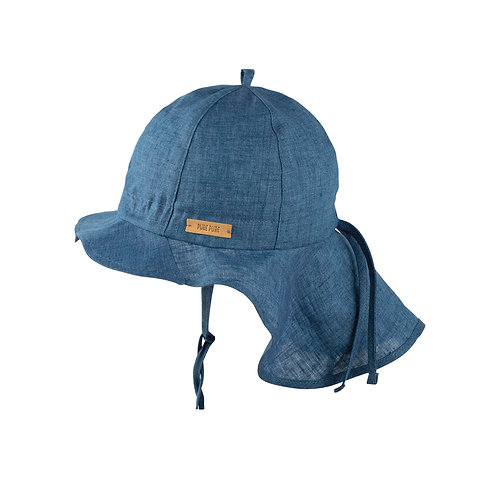 Pure Pure Sonnenhut Flapper Leinen Jeansblau