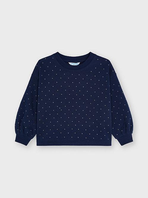 Mayoral Pullover,  Sweatshirt blau glitzer