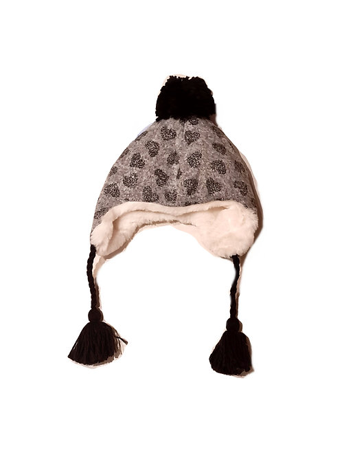 Sterntaler Inka- Mütze grau, glitzer Herzen