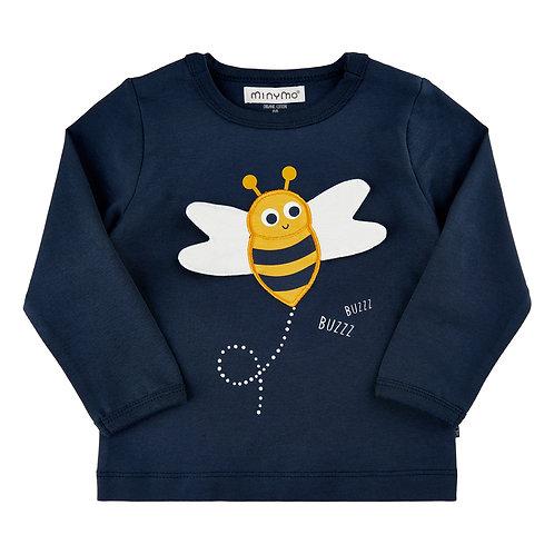 """Minymo Shirt langarm """"Biene"""" blau"""
