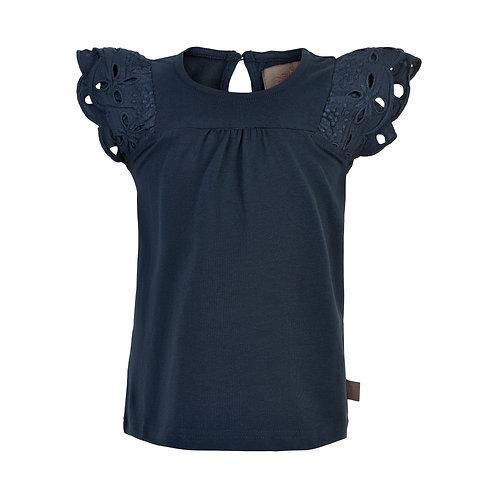 Creamie T-Shirt Lochstickerei marine hellblau
